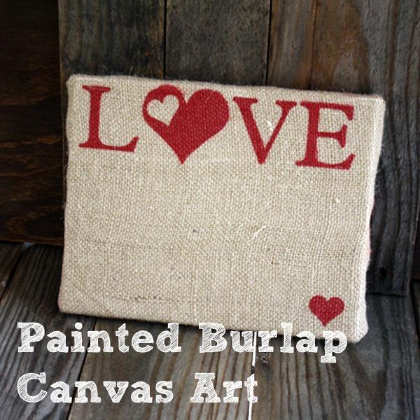 burlap love canvas