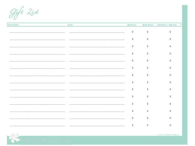 Bridal shower gift list template 28 images bridal for Wedding shower gift list template
