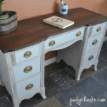 Two Toned desk redo using chalk paint and stain. DIY desk redo.