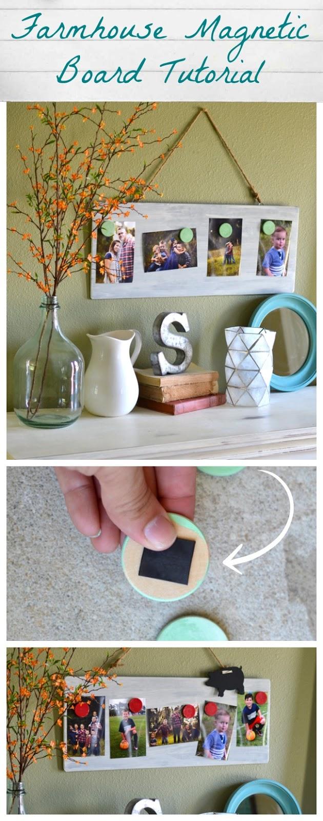 Farmhouse Style Magnetic Photo Board