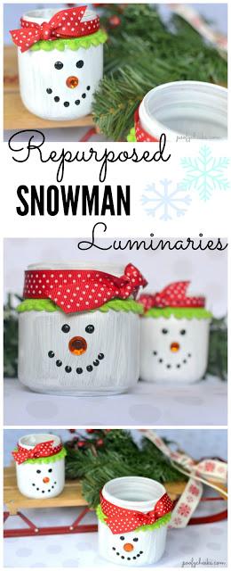 Snowman Luminaries – DIY Repurposed Glass Jar Craft