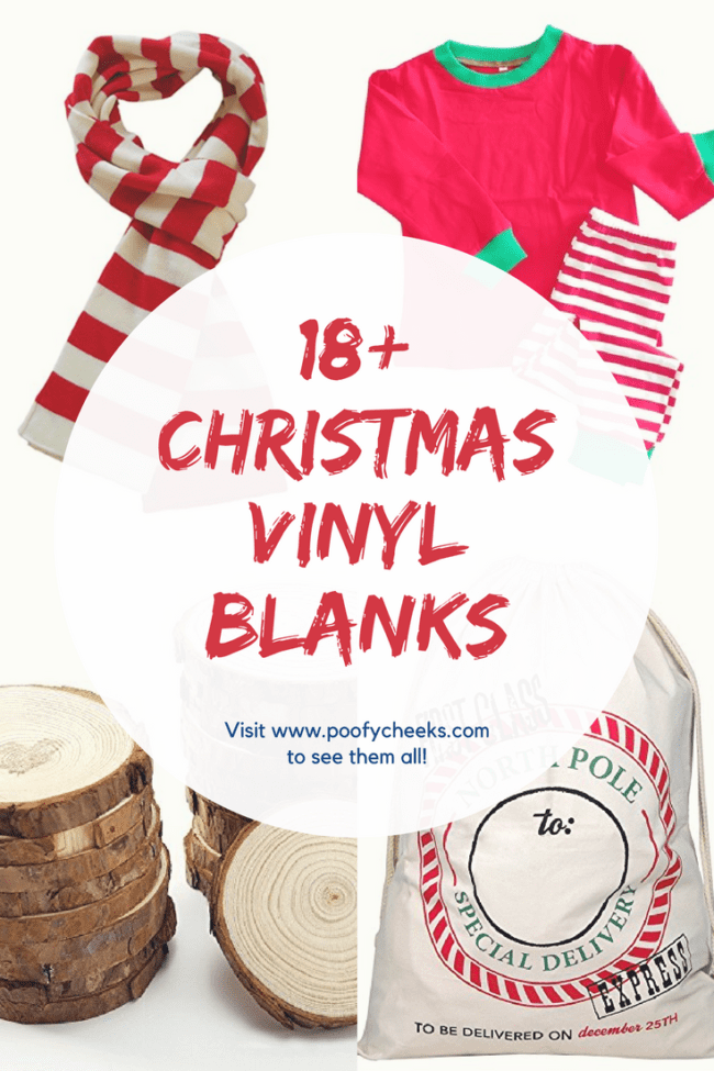 18+ Christmas Vinyl Blanks for Cricut and Silhouette Creations.
