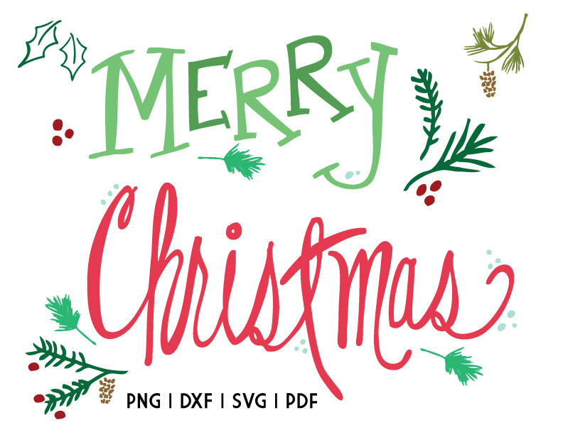 Christmas Cut Files and Printable - Floral and flourishes for Christmas designs. SVG, DXF, PDF and PNG.