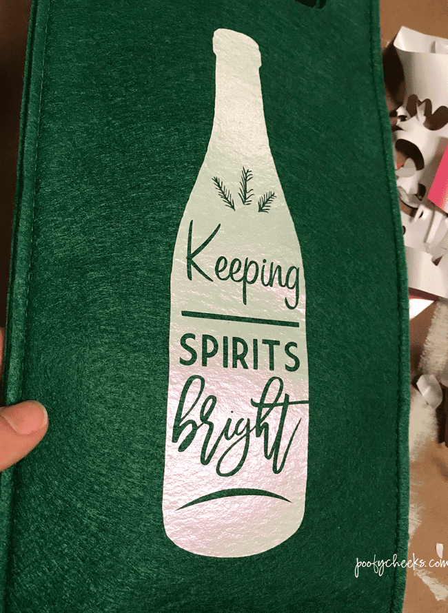 Keeping Spirit Bright HTV Wine Bag - Free SVG and DXF cut file.