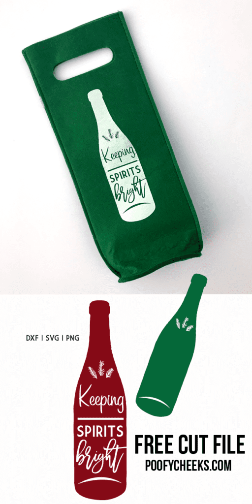 Keeping Spirits Bright - Cut file for Silhouette and Cricut to make a wine bag.