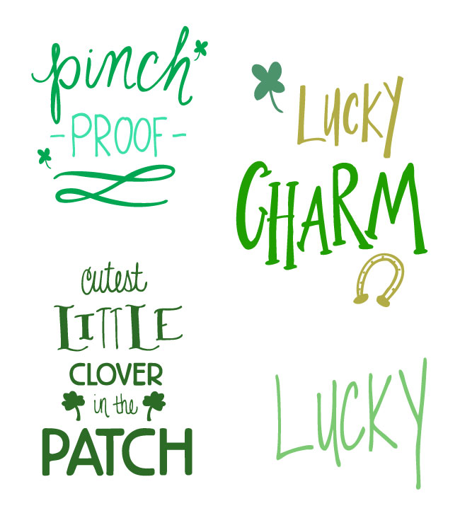 Free St. Patrick's Day Cut Files. Use with Cricut and Silhouette cutting machines. Doodles and hand lettered designs.
