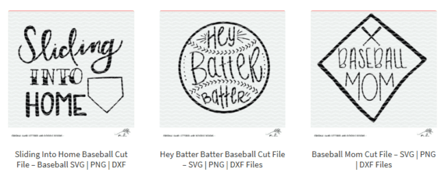 Baseball cut files for Silhouette and Cricut - SVG, PNG and DXF files.
