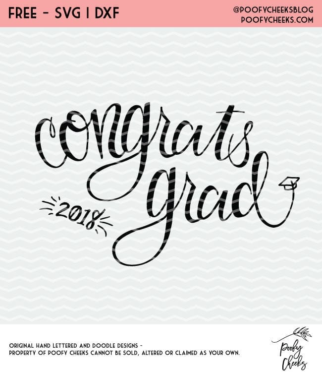 Congrats Grad hand lettered cut file. Free cut file for Silhouette and Cricut. Graduation cut file.
