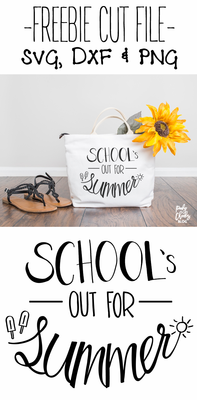 School's Out for Summer - Free cut file to use with Silhouette or Cricut machines. SVG, DXF and PNG from PoofyCheeks.com
