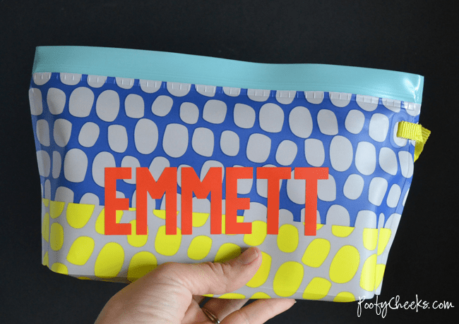 Personalize a wipes case with adhesive decals.
