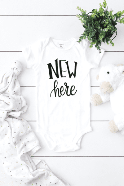 Free New Here Baby Onesie Cut File – Cricut and Silhouette Design – SVG, DXF and PNG File