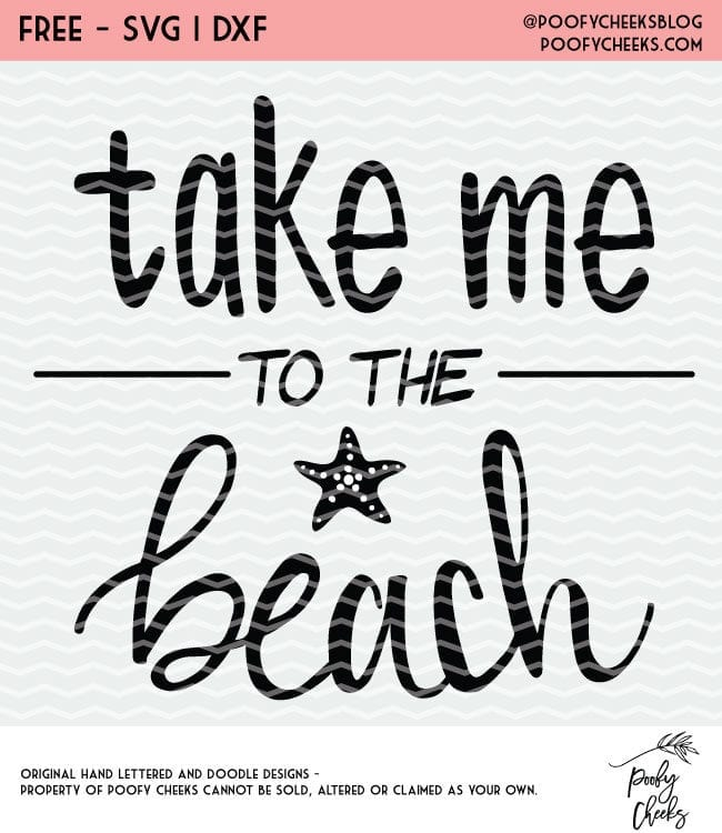 Take me to the Beach cut file for Silhouette and Cricut cutting machines. SVG, PNG and DXF vector files.