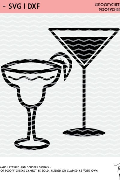 Cocktails Cut File Silhouette And Cricut Cut Files Svg Dxf And Png Poofy Cheeks