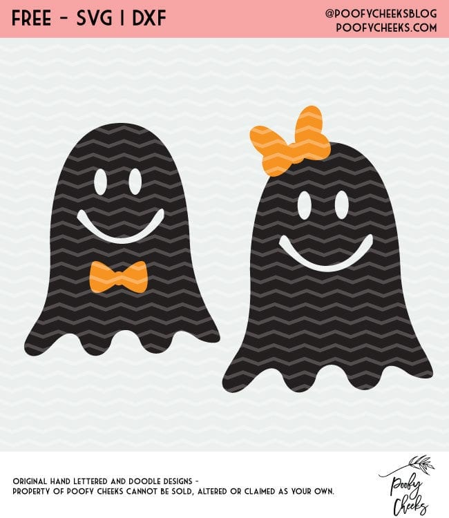 Ghosts with Bows Halloween Cut Files. Free designs for Silhouette and Cricut cutting machines. SVG, DXF and PNG files. #halloween #cutfile