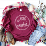 Sweater Weather hand lettered cut file for Silhouette and Cricut machines. Download the cut file and recieve a DXF, SVG and PNG file within a ZIP folder. #fall #sweaterweather #cutfile