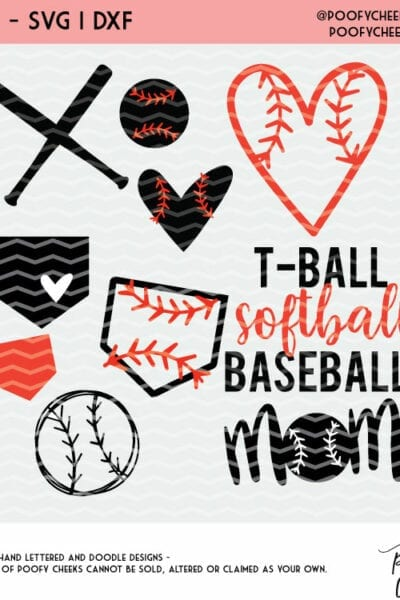 Ball, Bat and Diamond Baseball Cut Files – Silhouette and Cricut Designs