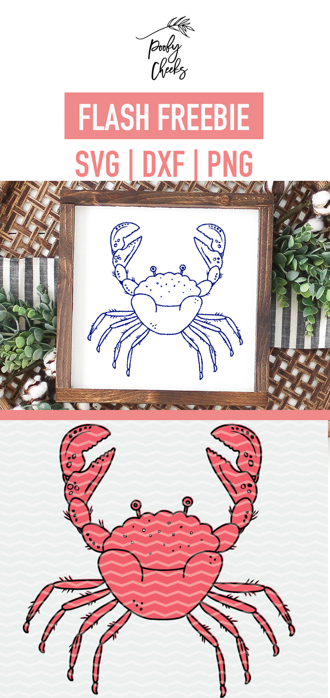 Drawn Crab Cut File - Free cut file for Silhouette and Cricut. SVG, PNG and DXF