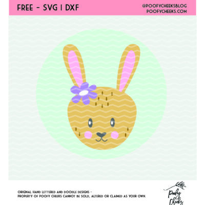 Bunny SVG, DXF, PNG file for use with Cricut or Silhouette cutting machines. Over 120 free cut files on PoofyCheeks.com