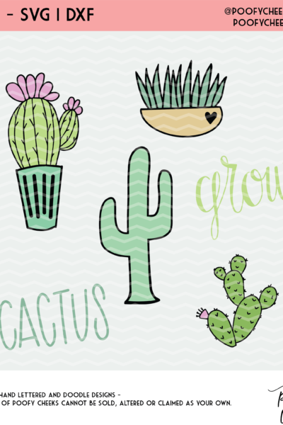 Cactus Cut File Mini Bundle – SVG, DXF and PNG Files for Silhouette and Cricut