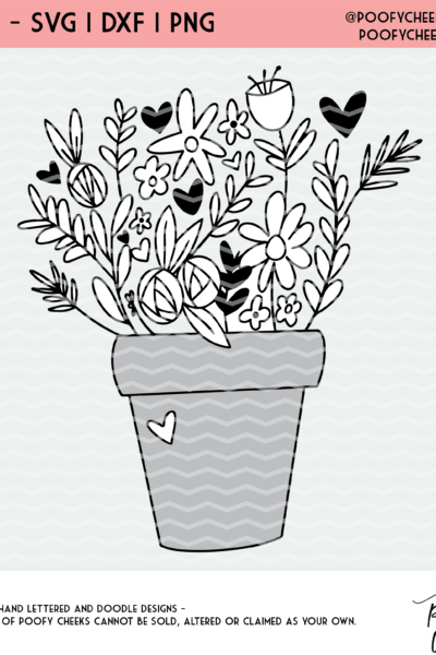 Flower Pot Cut File – SVG, DXF and PNG – Silhouette and Cricut