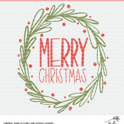 hand lettered merry Christmas digital design