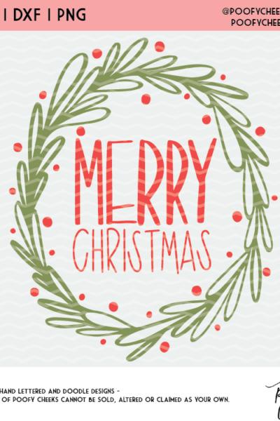 Merry Christmas Wreath Cut File – Silhouette and Cricut Free File