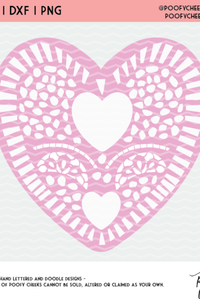 Valentine Heart Doily Cut File – SVG, DXF and PNG