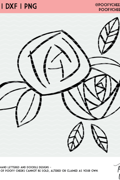 Hand Drawn Flower Cut File – Cricut and Silhouette SVG, PNG, DXF