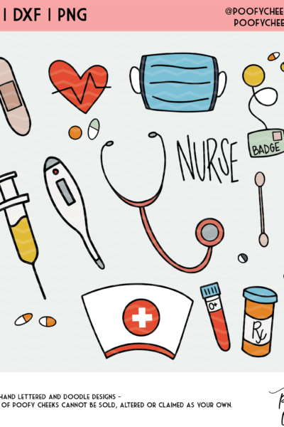 Nurse Cut Files – SVG, DXF and PNG Clipart for Silhouette and Cricut