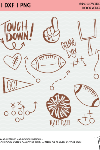 Football Cut File SVG, DXF and PNG for Silhouette and Cricut