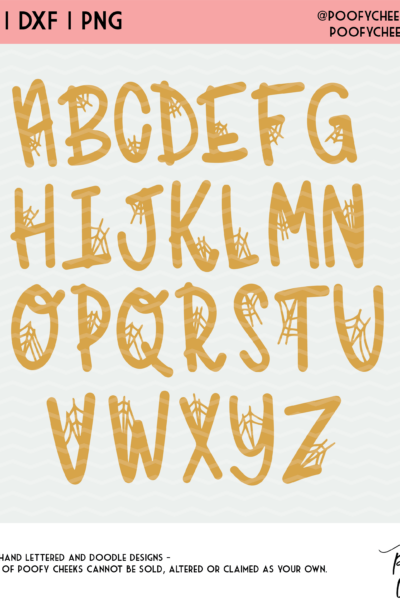 Spider Web Alphabet Cut File – SVG, DXF, PNG for Cricut and Silhouette