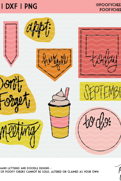 September Planner Cut Files – SVG, DXF, PNG – Silhouette Cameo and Cricut